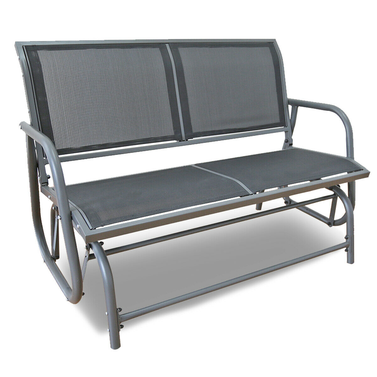 Outdoor Swing Glider 2 Person Patio Rocking Chair Loveseat Bench Furniture  Yard Regarding 2 Person Antique Black Iron Outdoor Gliders (Image 21 of 25)