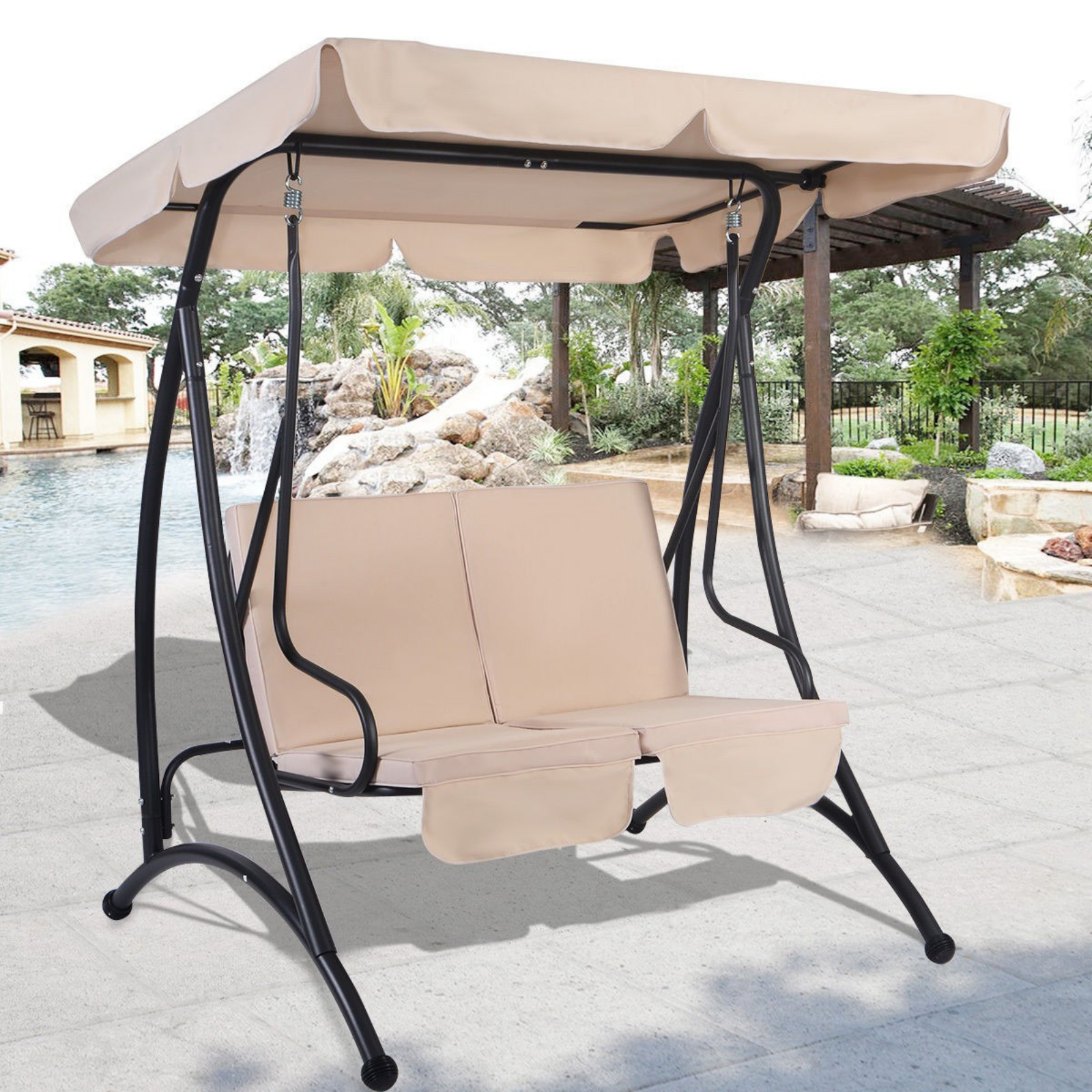 Outdoor Swing With Canopy 2 Person Patio Porch Steel Swing Double Hanging Seat For Canopy Patio Porch Swing With Stand (View 7 of 25)