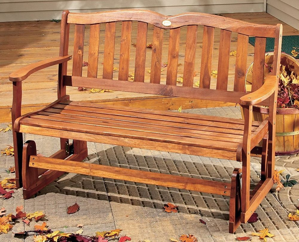 Outdoor Wood Glider Bench 2 Person Patio Porch Deck Sunroom In Loveseat Glider Benches (View 16 of 25)