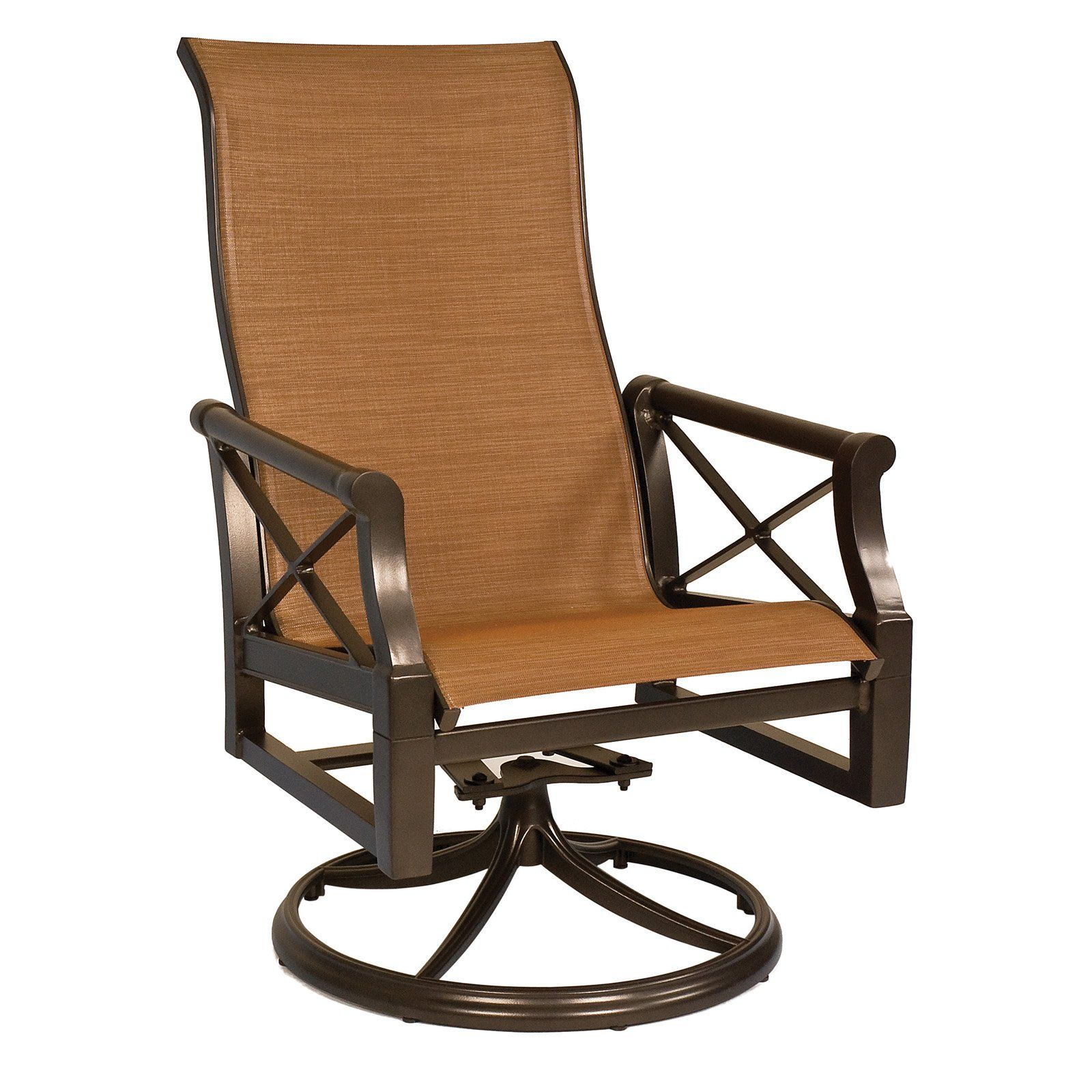 Outdoor Woodard Andover Sling High Back Swivel Rocker Dining Inside Sling High Back Swivel Chairs (View 9 of 25)