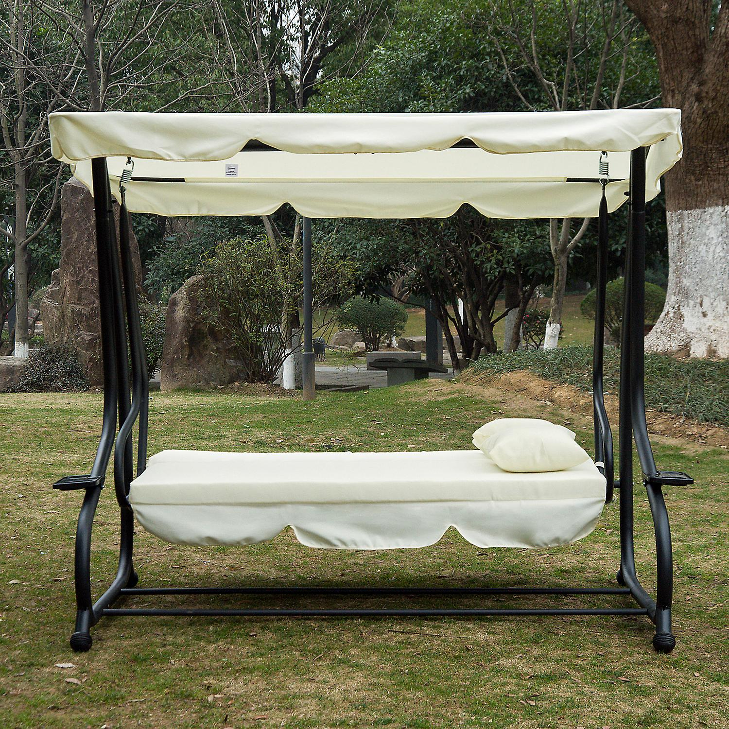 Outsunny 2 In 1 Patio Swing Chair 3 Seater Hammock Cushion Bed Tilt Canopy Garden Lounger Bench Pertaining To 3 Seat Pergola Swings (View 20 of 25)