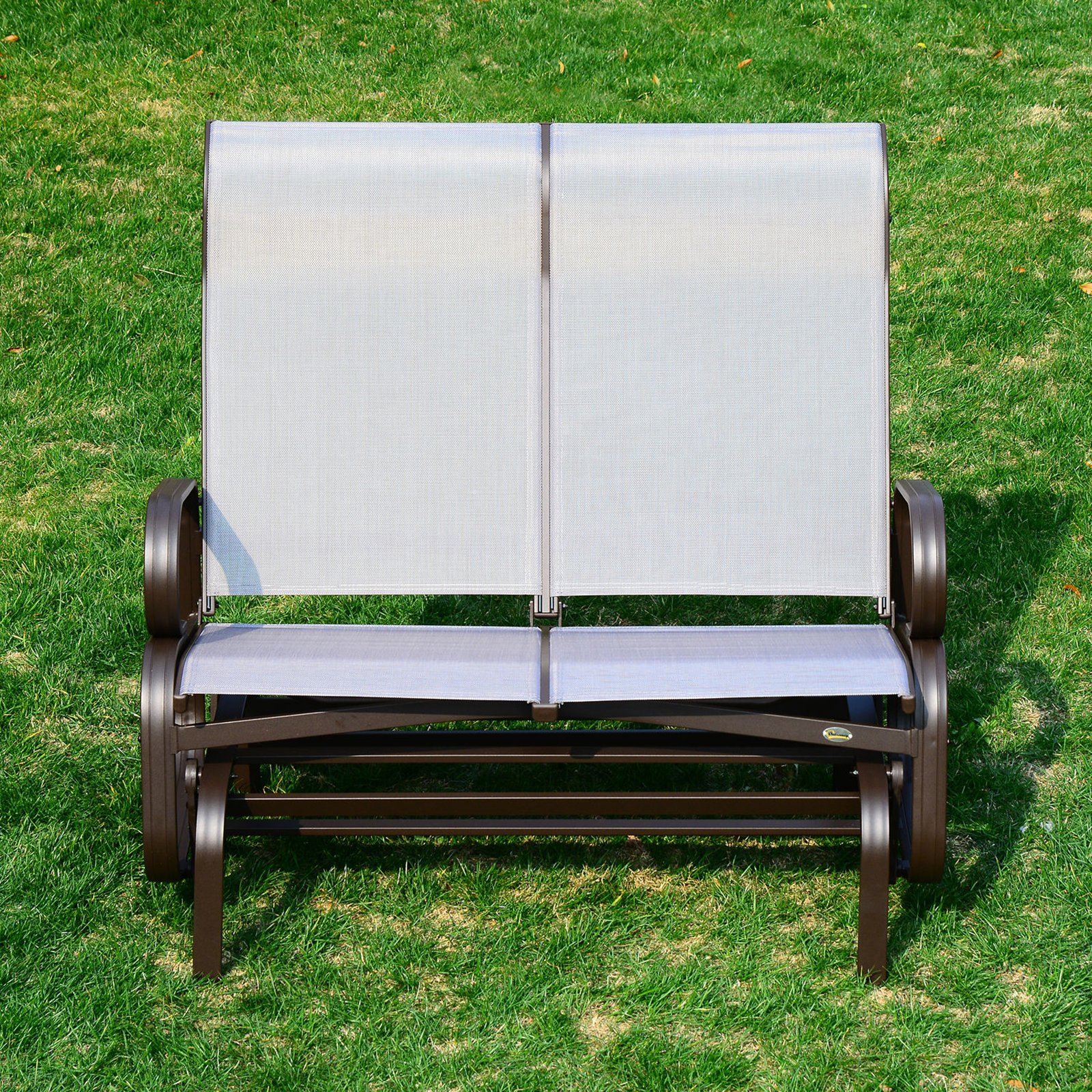Outsunny 2 Person Mesh Fabric Patio Double Glider Chair Pertaining To Aluminum Outdoor Double Glider Benches (View 20 of 25)