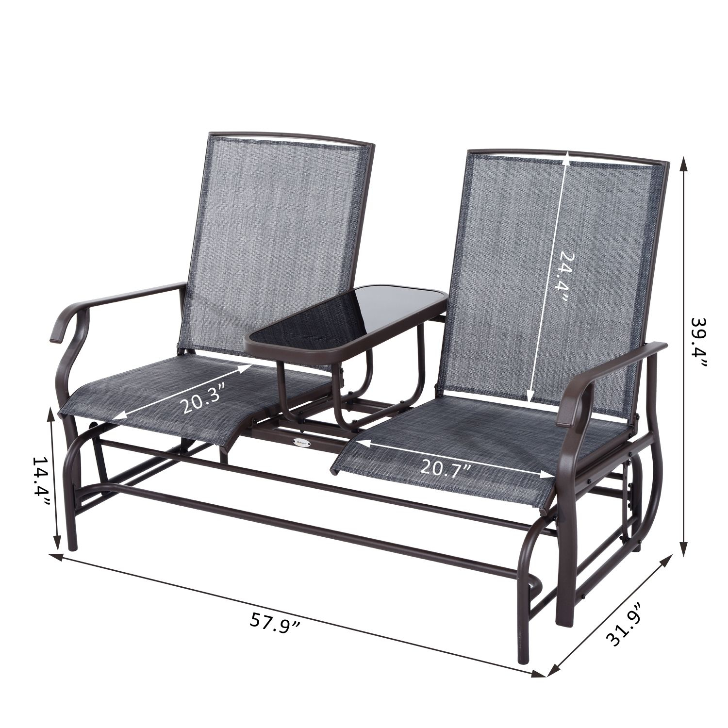 Outsunny 2 Person Outdoor Mesh Fabric Patio Double Glider In Center Table Double Glider Benches (View 22 of 25)