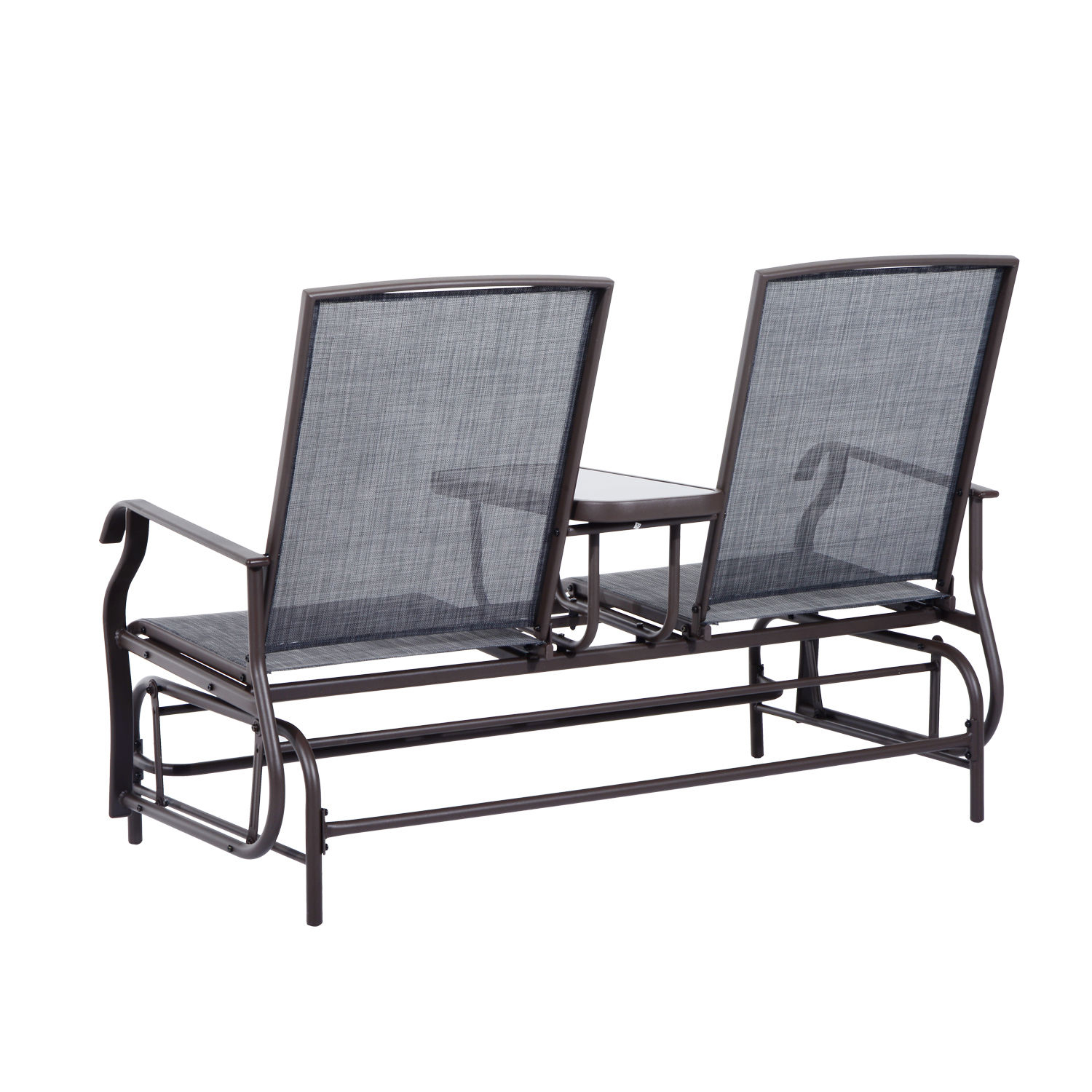 Outsunny 2 Person Outdoor Mesh Fabric Patio Double Glider Inside Center Table Double Glider Benches (View 8 of 25)