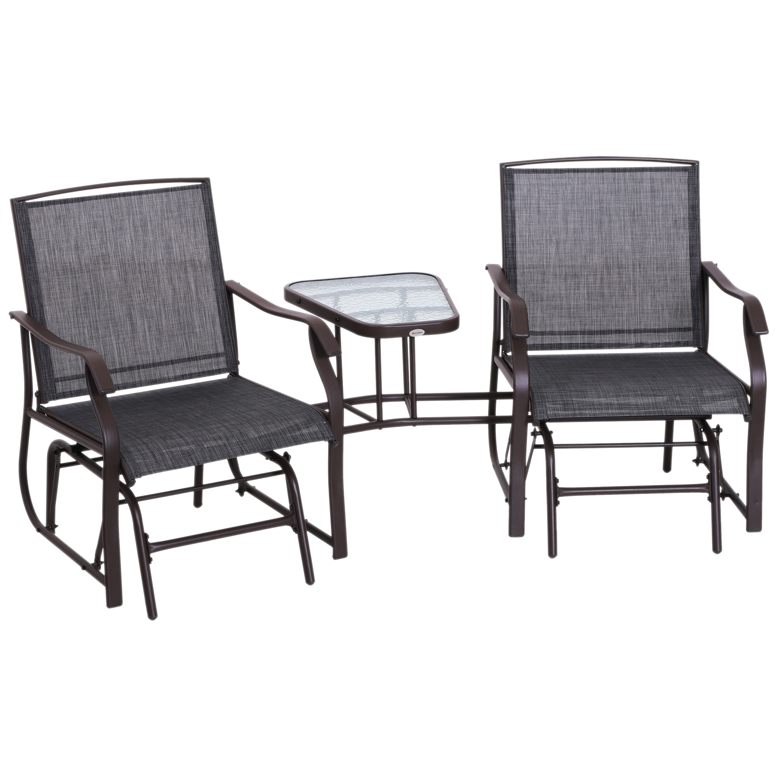 Outsunny 2 Person Outdoor Sling Fabric Double Glider Rocker Chair With Table With Center Table Double Glider Benches (View 11 of 25)