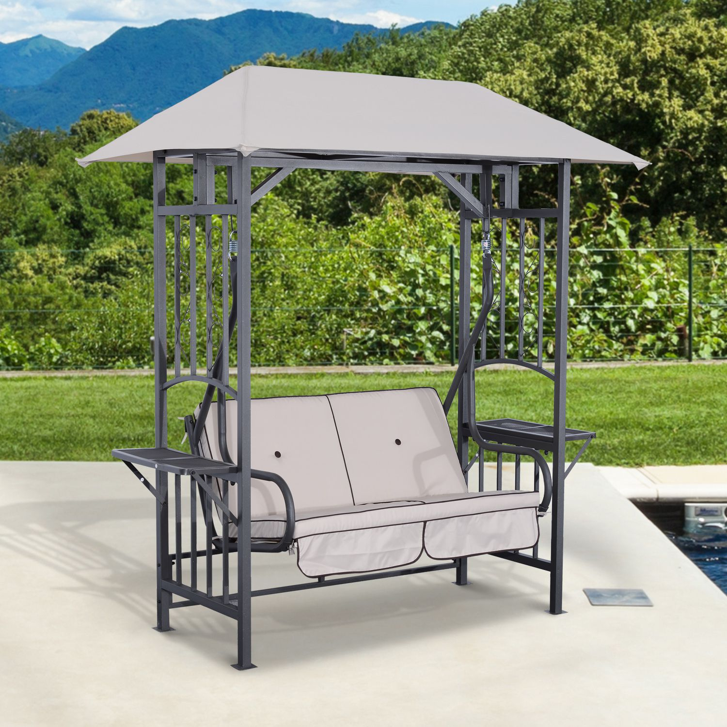 Outsunny 2 Person Patio Swing Chair Porch Outdoor Hammock Loveseat W/canopy Pertaining To 2 Person Adjustable Tilt Canopy Patio Loveseat Porch Swings (Image 19 of 25)