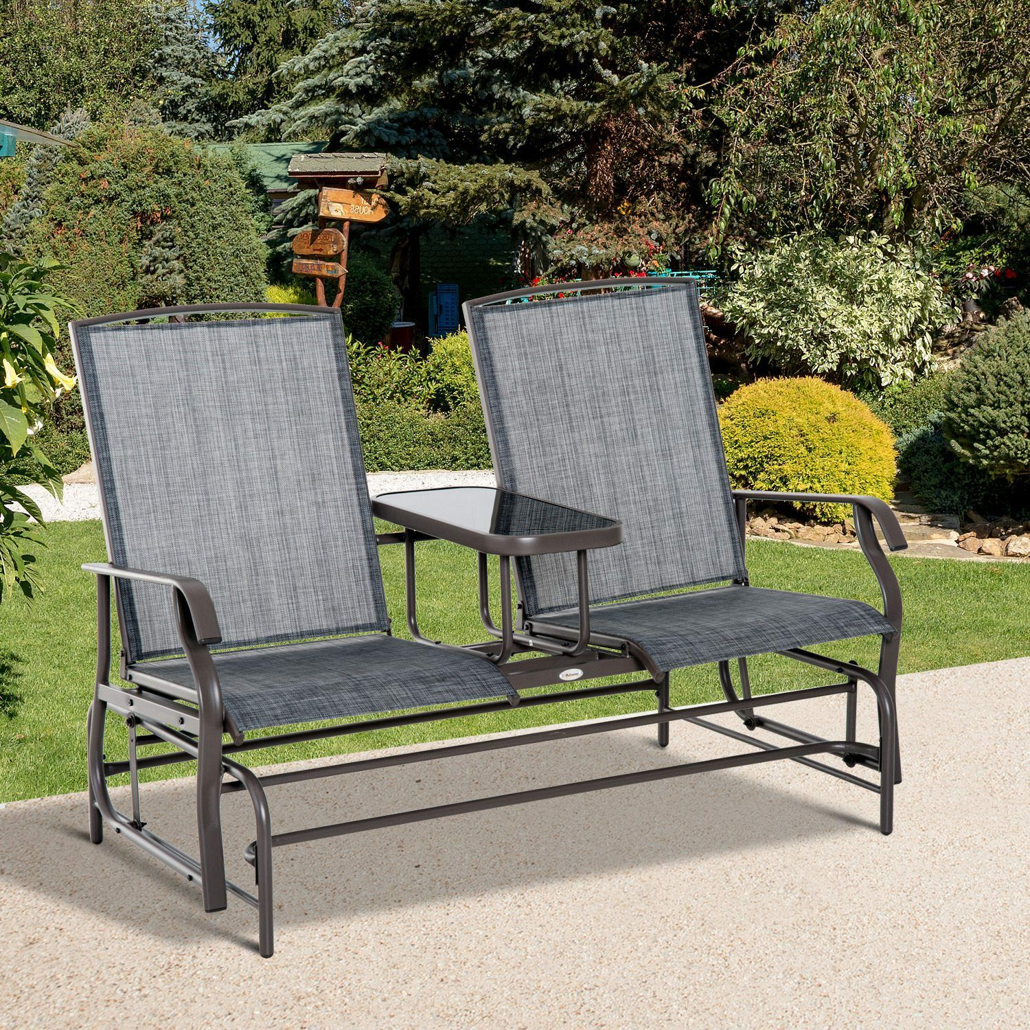 Outsunny 2 Seater Patio Glider Rocking Chair Metal Swing Bench Furniture  Table Intended For Outdoor Patio Swing Glider Bench Chairs (View 10 of 25)