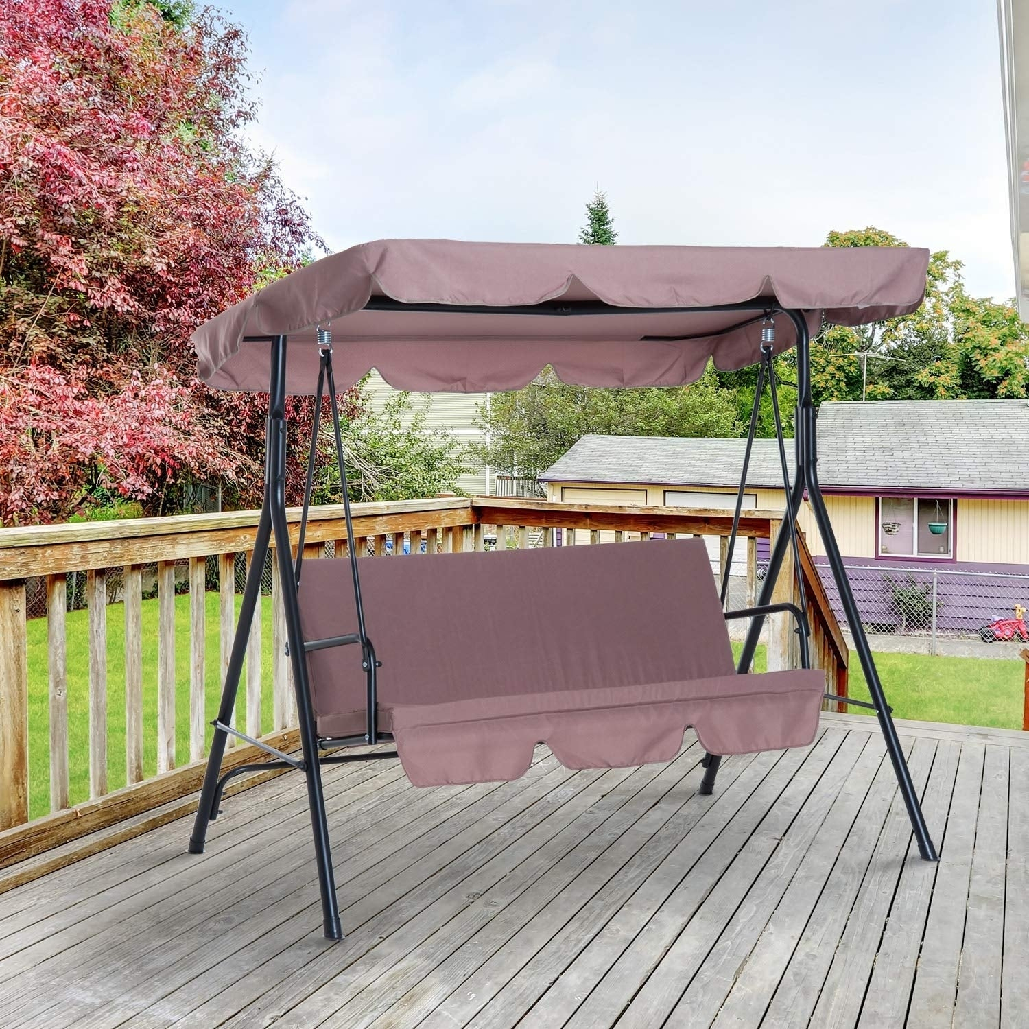 Outsunny 3 Person Steel Fabric Outdoor Porch Swing Canopy With Stand – Brown Throughout 3 Person Brown Steel Outdoor Swings (View 25 of 25)