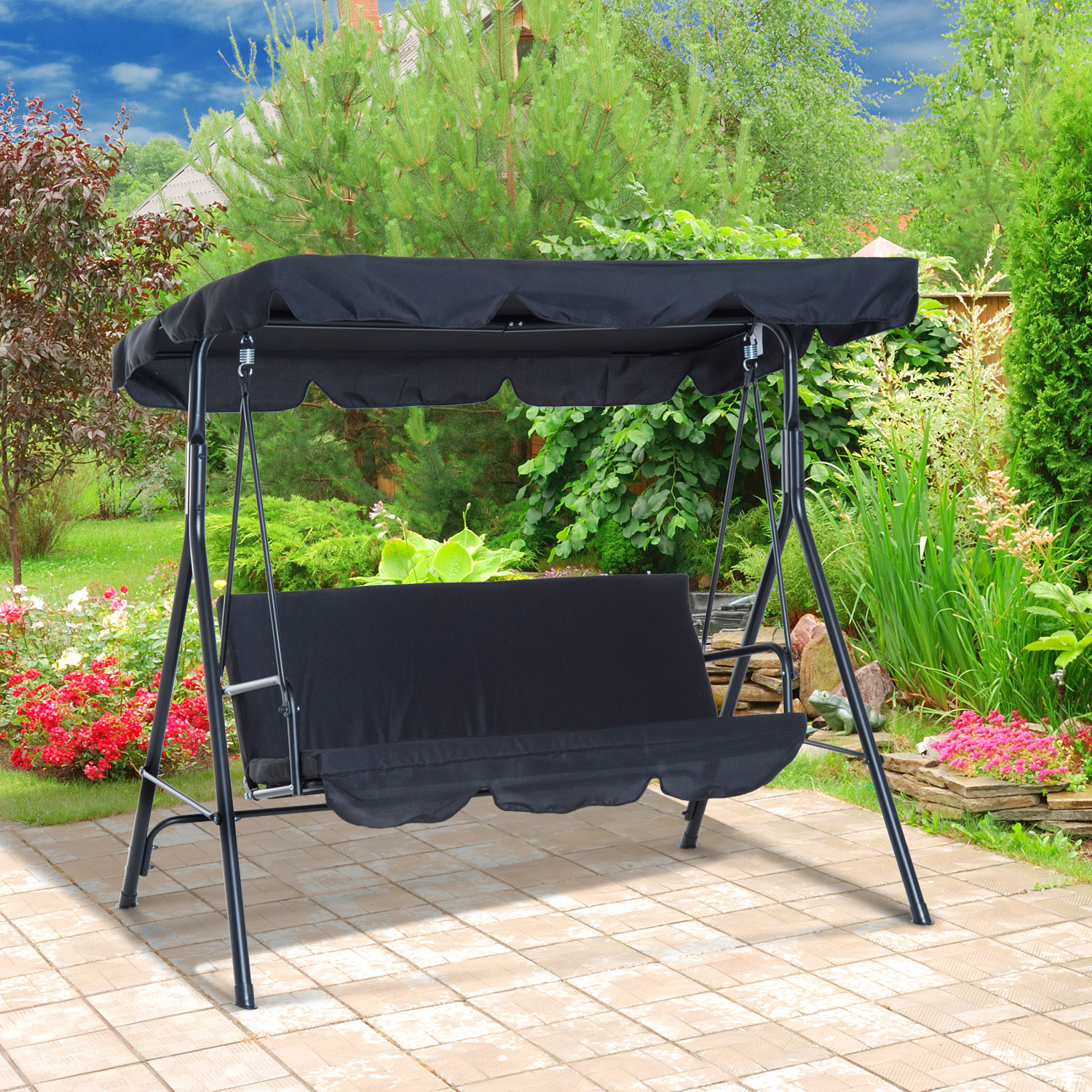 Outsunny 3 Person Steel Outdoor Porch Sling Fabric Swing With 1 Person Antique Black Iron Outdoor Swings (View 13 of 25)
