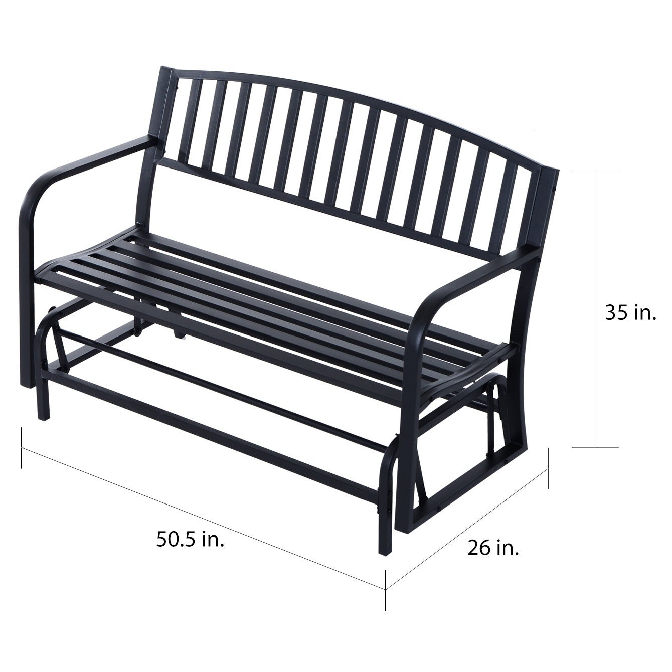 Outsunny 50 Inch Outdoor Steel Patio Swing Glider Bench – Black Pertaining To Metal Powder Coat Double Seat Glider Benches (View 14 of 25)