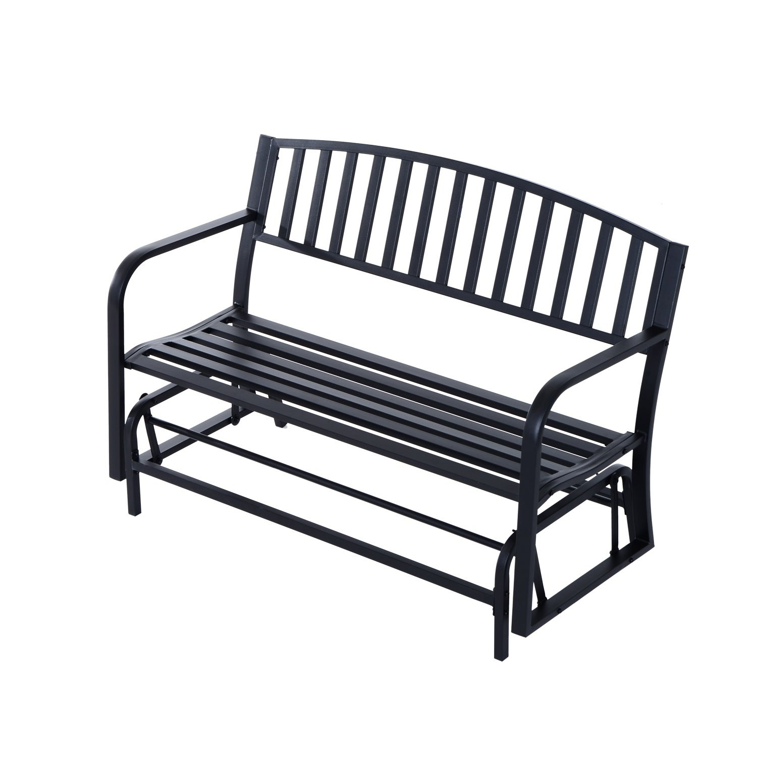 Outsunny 50 Inch Outdoor Steel Patio Swing Glider Bench – Black With Regard To 1 Person Antique Black Steel Outdoor Gliders (View 4 of 25)