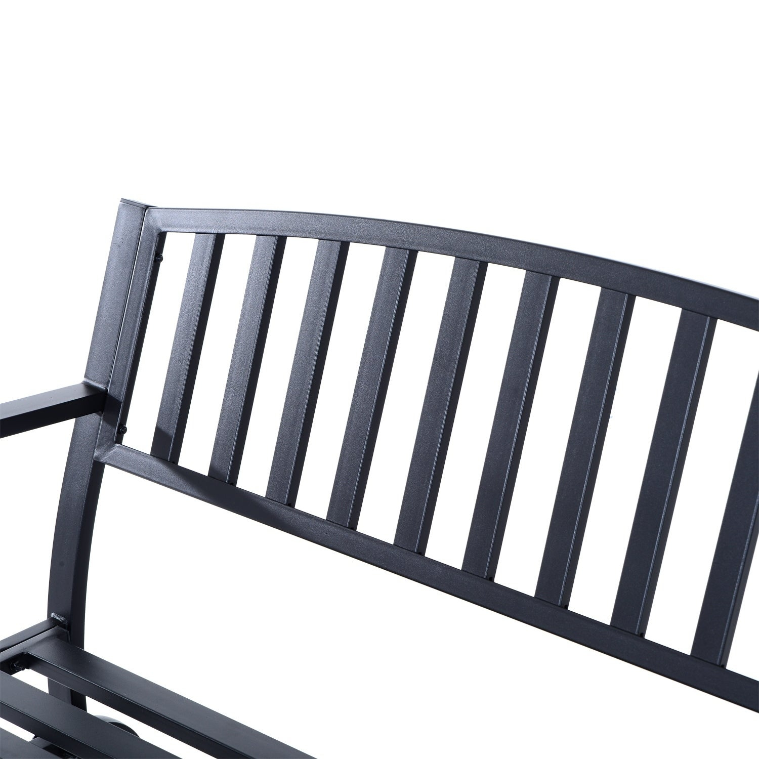 Outsunny 50 Inch Outdoor Steel Patio Swing Glider Bench – Black Within Black Steel Patio Swing Glider Benches Powder Coated (Image 22 of 25)