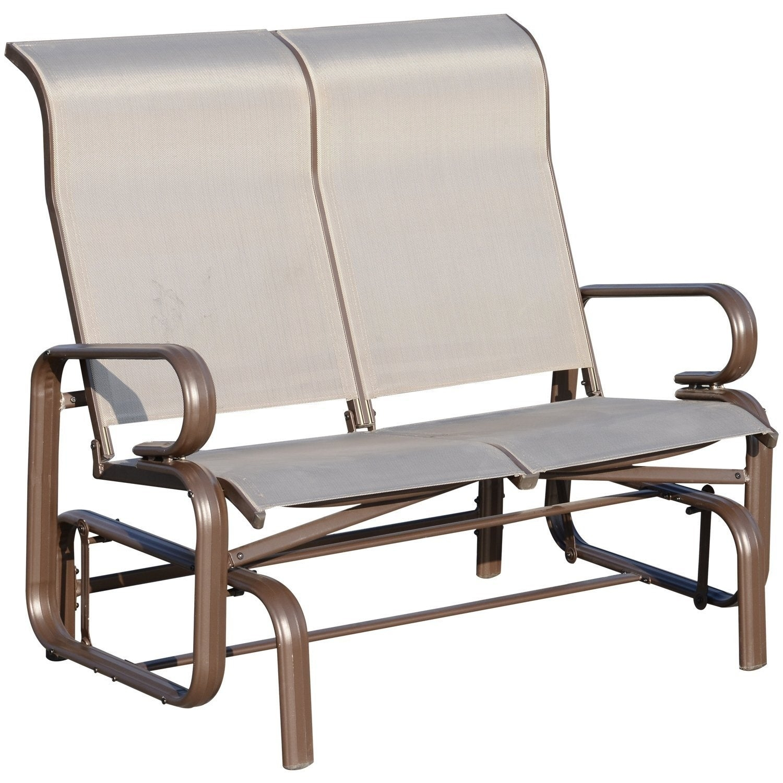 Outsunny Aluminum Outdoor Double Glider Rocking Bench Mesh Fabric Chair Durable Garden – Grey With Regard To Outdoor Fabric Glider Benches (View 24 of 25)