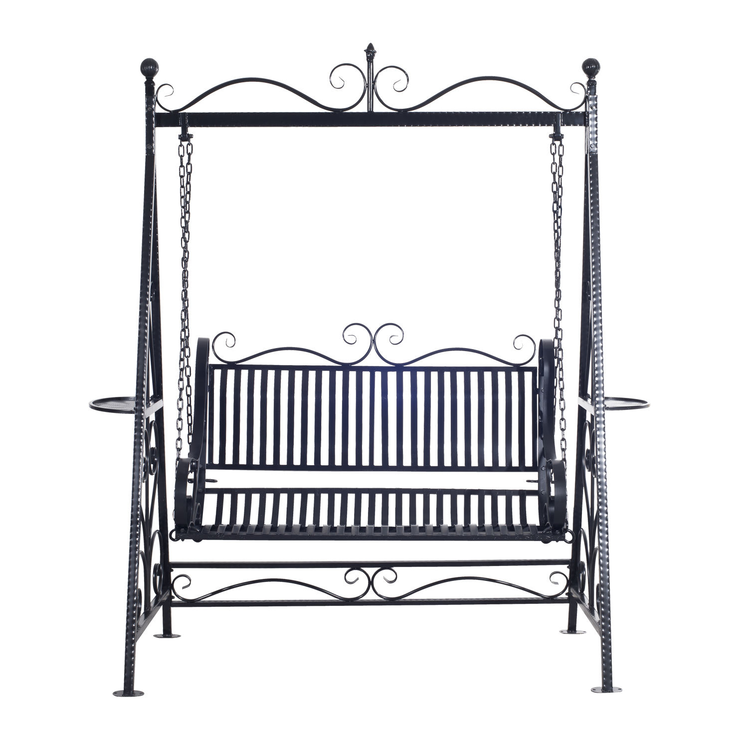 Outsunny Cast Iron Swing Chair Within 2 Person Antique Black Iron Outdoor Swings (View 17 of 25)