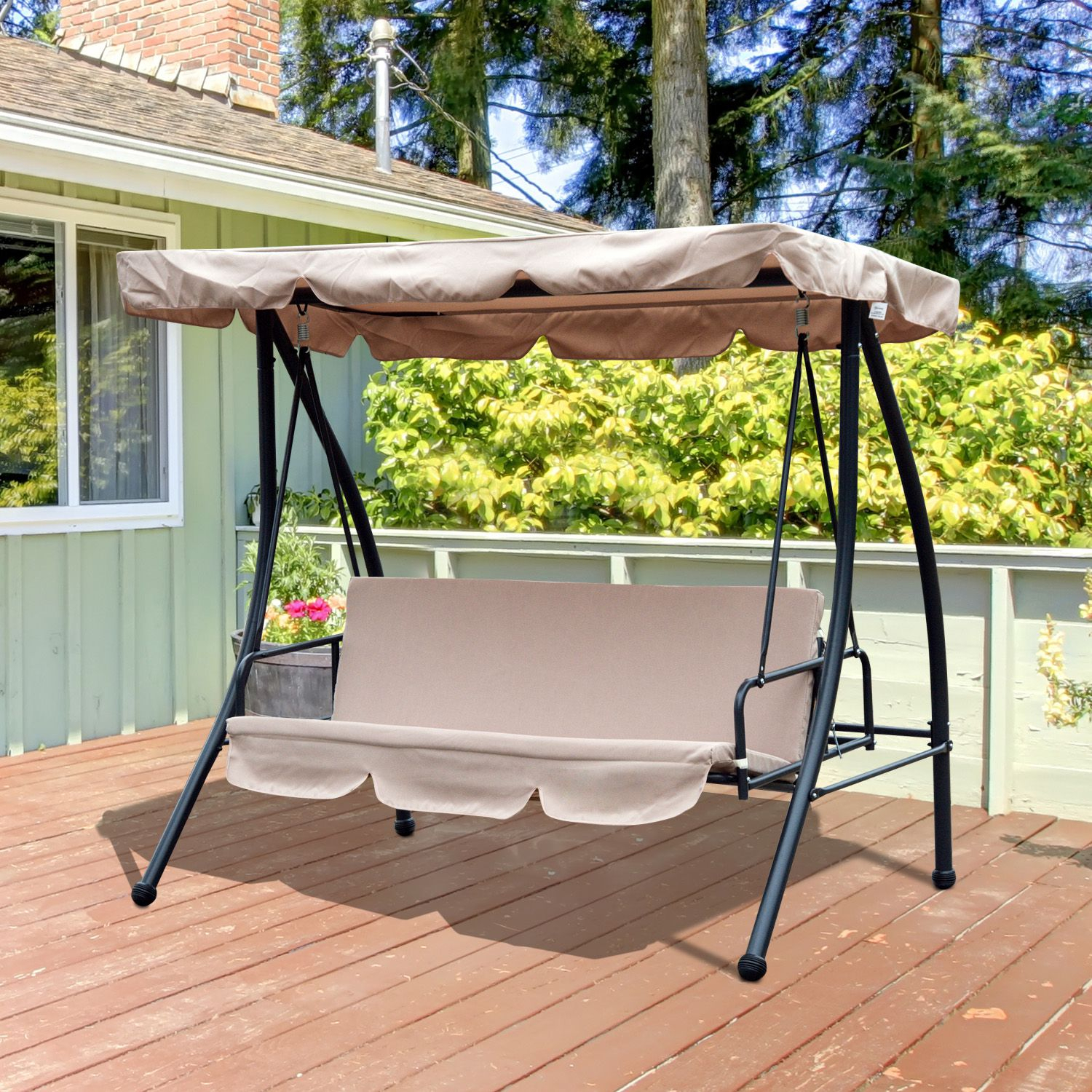 Outsunny Convertible Patio Swing Chair 3 Person Hammock Cushioned Portable Outdoor With Tilt Canopy Beige Intended For 2 Person Outdoor Convertible Canopy Swing Gliders With Removable Cushions Beige (View 20 of 25)