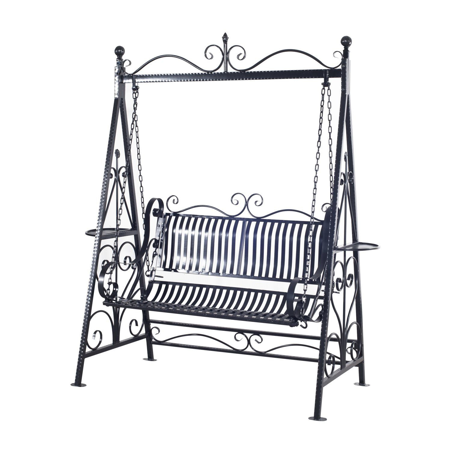 Outsunny Garden Metal Swing Chair Outdoor Patio Hammock Throughout 2 Person Hammered Bronze Iron Outdoor Swings (Image 15 of 25)