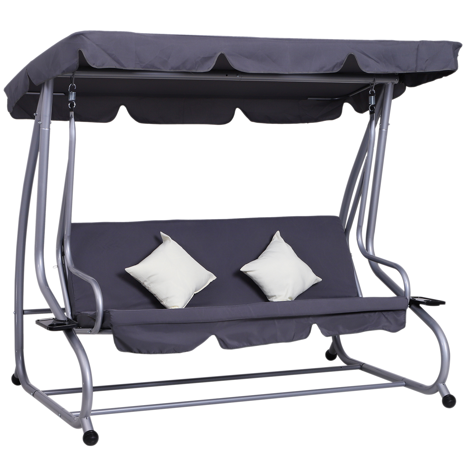 Outsunny Heavy Duty Metal 3 Seater Covered Outdoor Swing Chair Garden  Hammock And Bed With Frame, Canopy And 2 Pillows (Grey) With Regard To 3 Seater Swings With Frame And Canopy (Image 20 of 25)