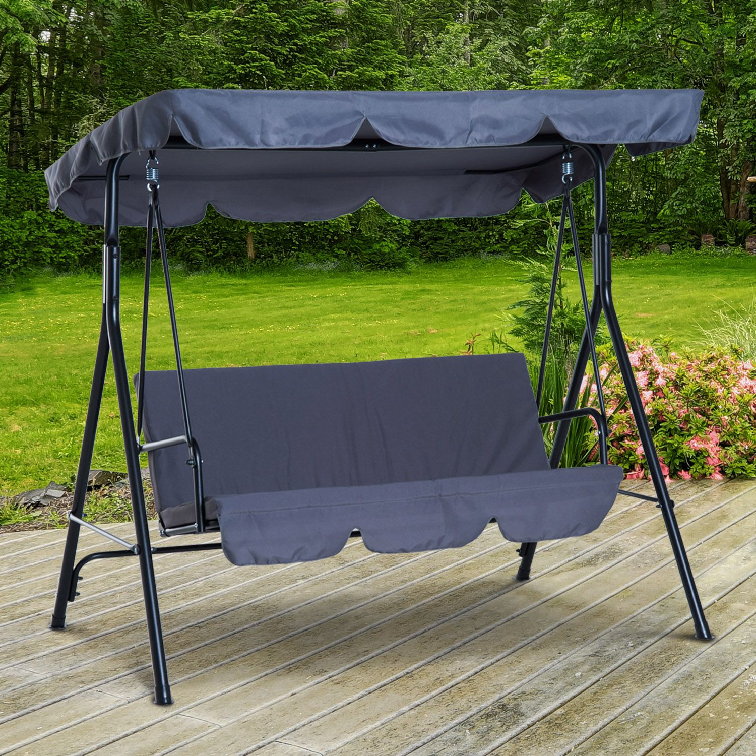 Outsunny Metal 3 Seater Outdoor Patio Swing With Canopy Cushioned Garden Lounger Grey Throughout 3 Person Red With Brown Powder Coated Frame Steel Outdoor Swings (View 22 of 25)