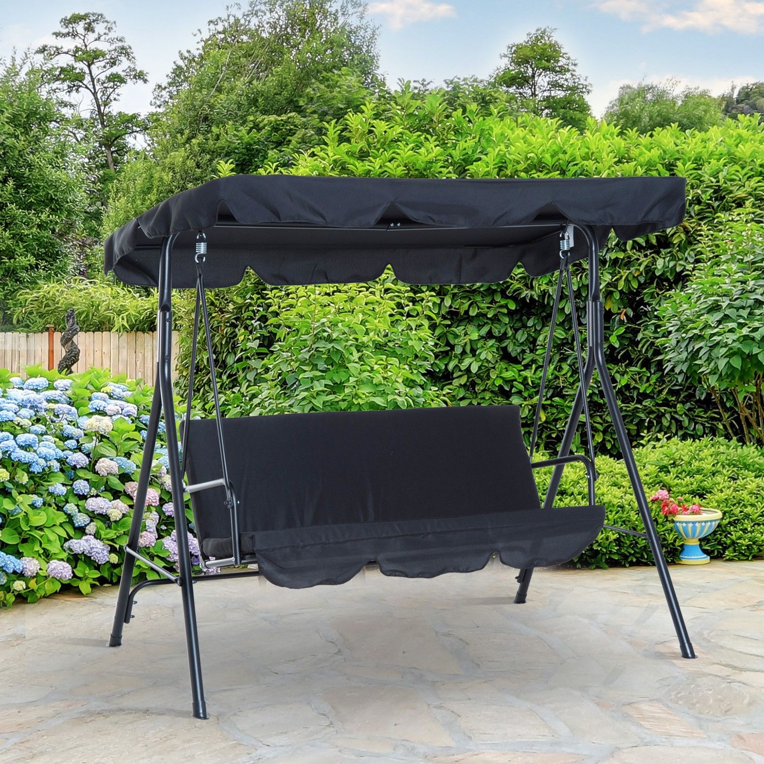 Outsunny Metal 3 Seater Outdoor Patio Swing With Canopy In 3 Seats Patio Canopy Swing Gliders Hammock Cushioned Steel Frame (Image 22 of 25)