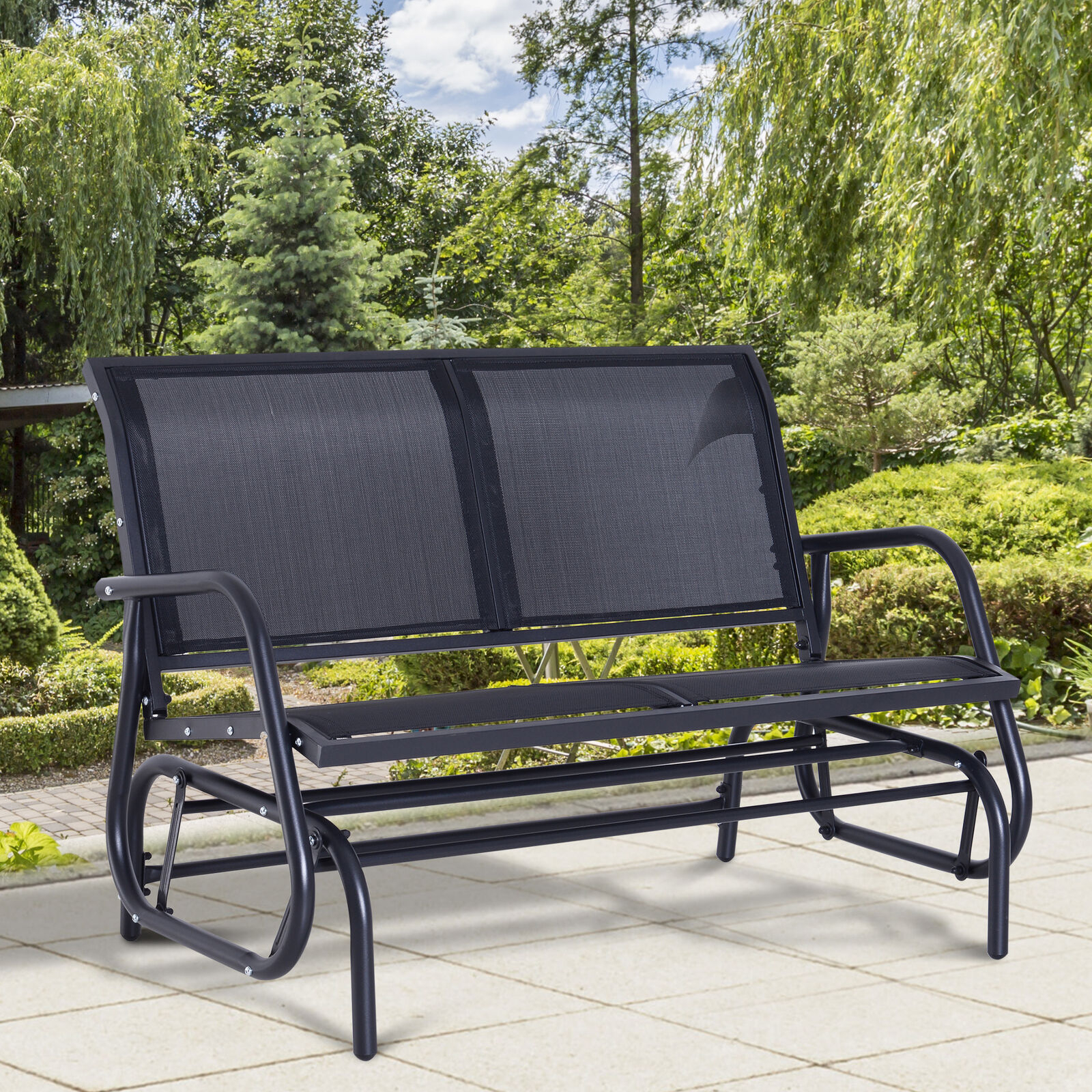 Outsunny Patio Double 2 Person Glider Bench Rocker Porch Love Seat Swing Chair Within Rocking Love Seats Glider Swing Benches With Sturdy Frame (View 9 of 25)