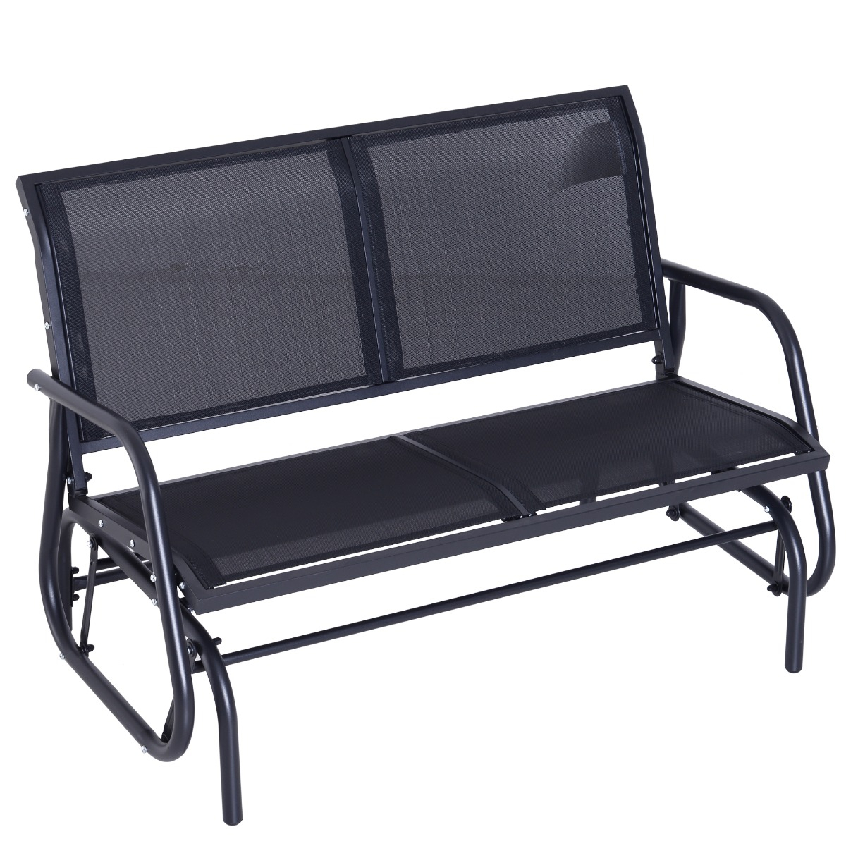 Outsunny Patio Double Glider Bench Swing Chair Rocker Heavy Duty Outdoor  Garden Black Intended For Black Outdoor Durable Steel Frame Patio Swing Glider Bench Chairs (Image 17 of 25)
