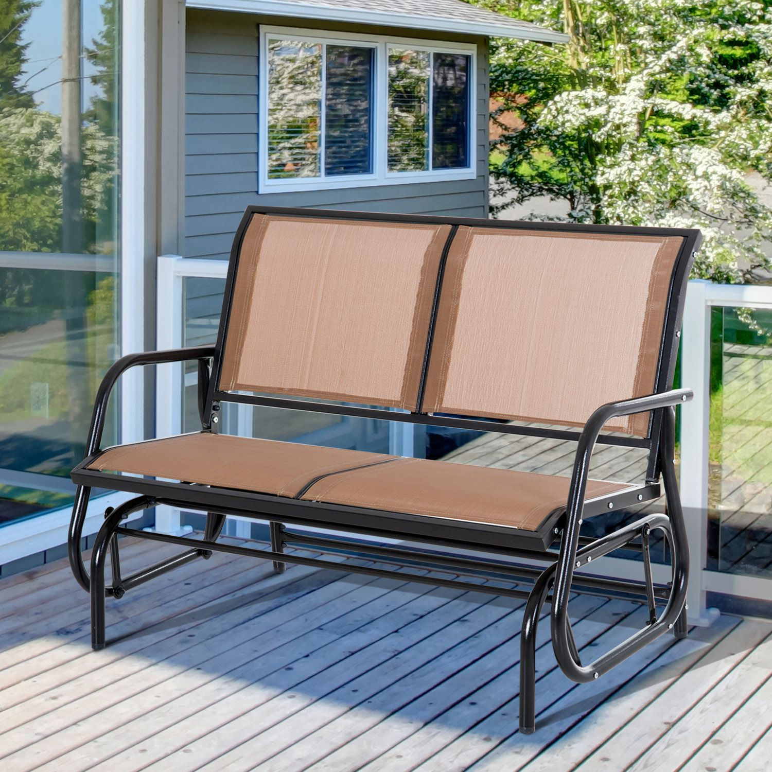 Outsunny Steel Sling Fabric Patio Outdoor Glider Double Swing Chair – Brown Within Sling Double Glider Benches (View 20 of 25)