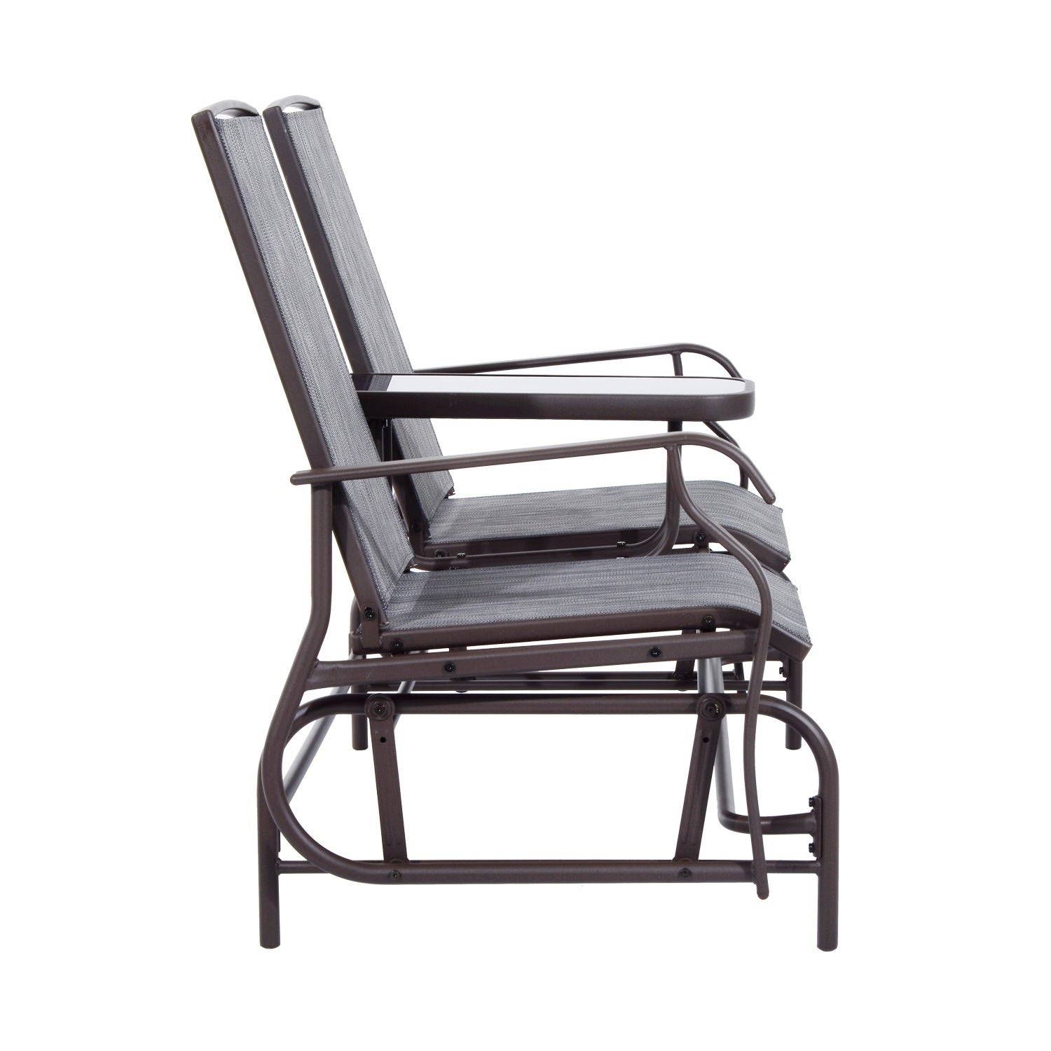 Outsunny Two Person Outdoor Mesh Fabric Patio Double Glider Chair With Center Table In Center Table Double Glider Benches (View 20 of 25)