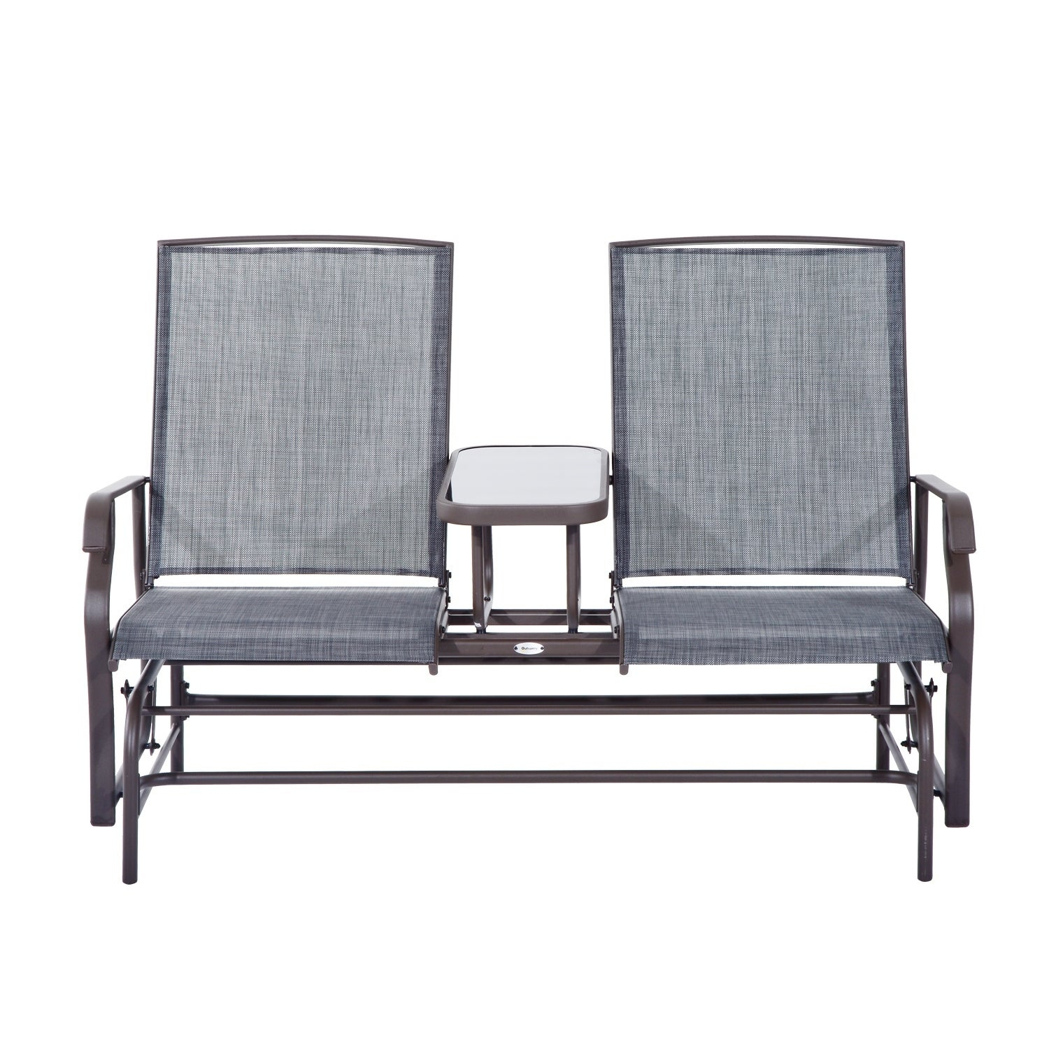 Outsunny Two Person Outdoor Mesh Fabric Patio Double Glider Chair With  Center Table In Iron Double Patio Glider Benches (Image 21 of 25)