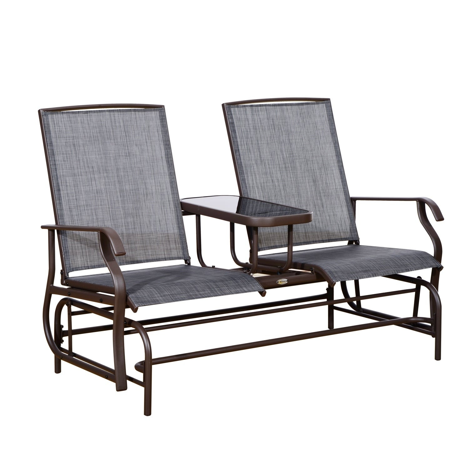 Outsunny Two Person Outdoor Mesh Fabric Patio Double Glider Chair With Center Table Throughout Twin Seat Glider Benches (View 10 of 25)
