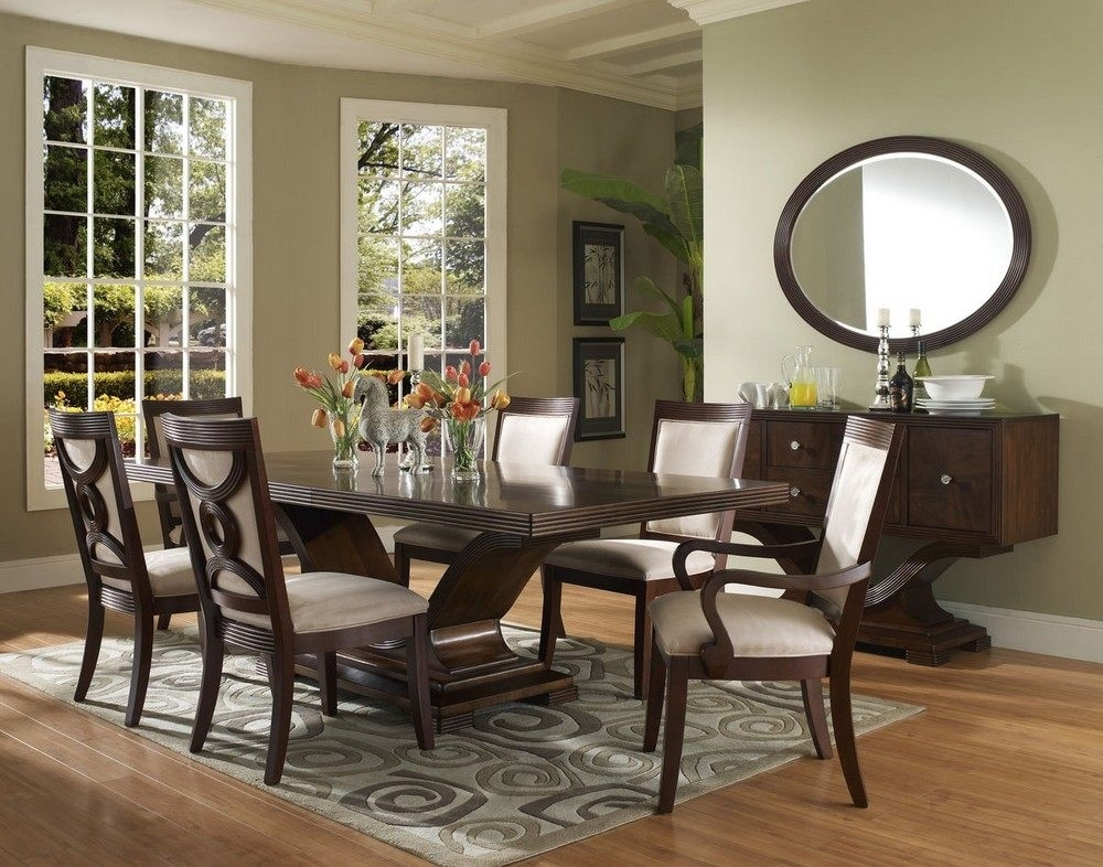 Oval Mirrors Elegant Dining Room Large Table Sets Wood Pertaining To Medium Elegant Dining Tables (View 14 of 25)