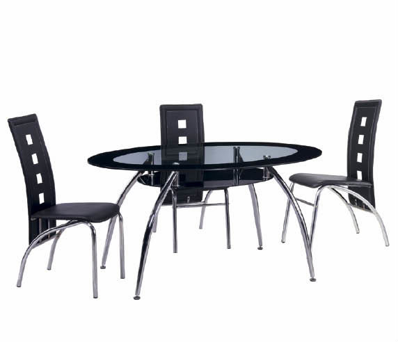 Oval Shape Tempered Glass Top Dining Tables Set With Chrome Legs – Buy Dining Room Furniture,dining Table,dining Sets Product On Alibaba With Regard To Chrome Dining Tables With Tempered Glass (View 14 of 25)
