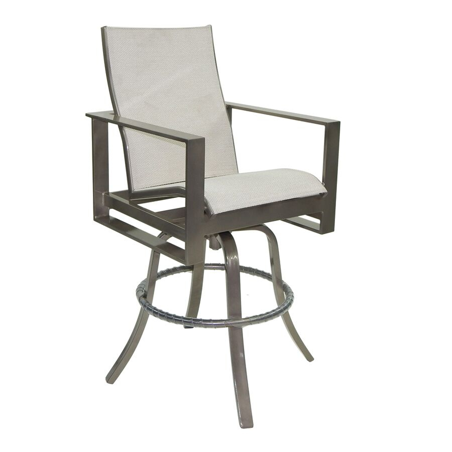 Park Place High Back Sling Swivel Bar Stool | Castelle In Padded Sling High Back Swivel Chairs (View 21 of 25)
