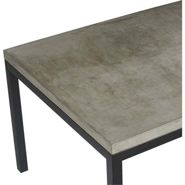 Parsons Concrete Top/ Dark Steel Base Dining Tables | Crate With Regard To Thick White Marble Slab Dining Tables With Weathered Grey Finish (View 10 of 25)