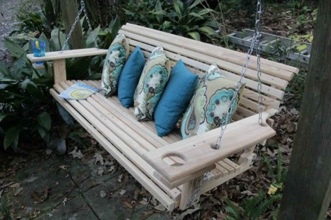 Patio And Porch Swings – Come Sit A Spell In 5 Ft Cedar Swings With Springs (View 19 of 25)