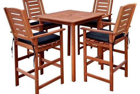 Patio Bar Height Dining Table Set Fantasy Miramar 5Pc In Patio Square Bar Dining Tables (View 2 of 25)