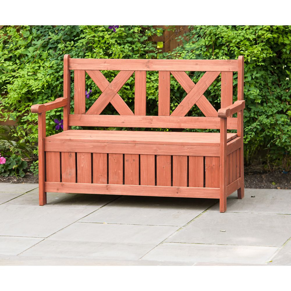 Patio Bench With Storage For Iron Grove Slatted Glider Benches (View 16 of 26)