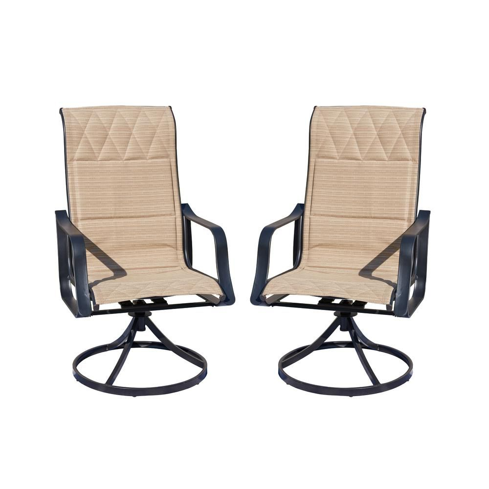 Patio Festival Swivel Padded Sling Outdoor Dining Chair In Throughout Padded Sling High Back Swivel Chairs (View 13 of 25)