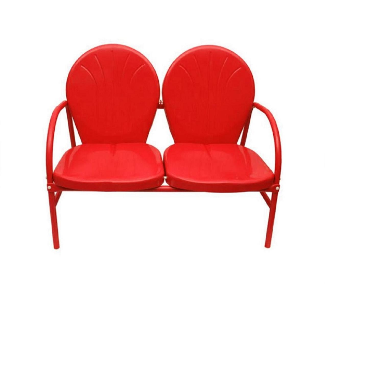 Patio Furniture & Accessories Northlight Vibrant Red Retro Intended For Outdoor Retro Metal Double Glider Benches (View 10 of 25)