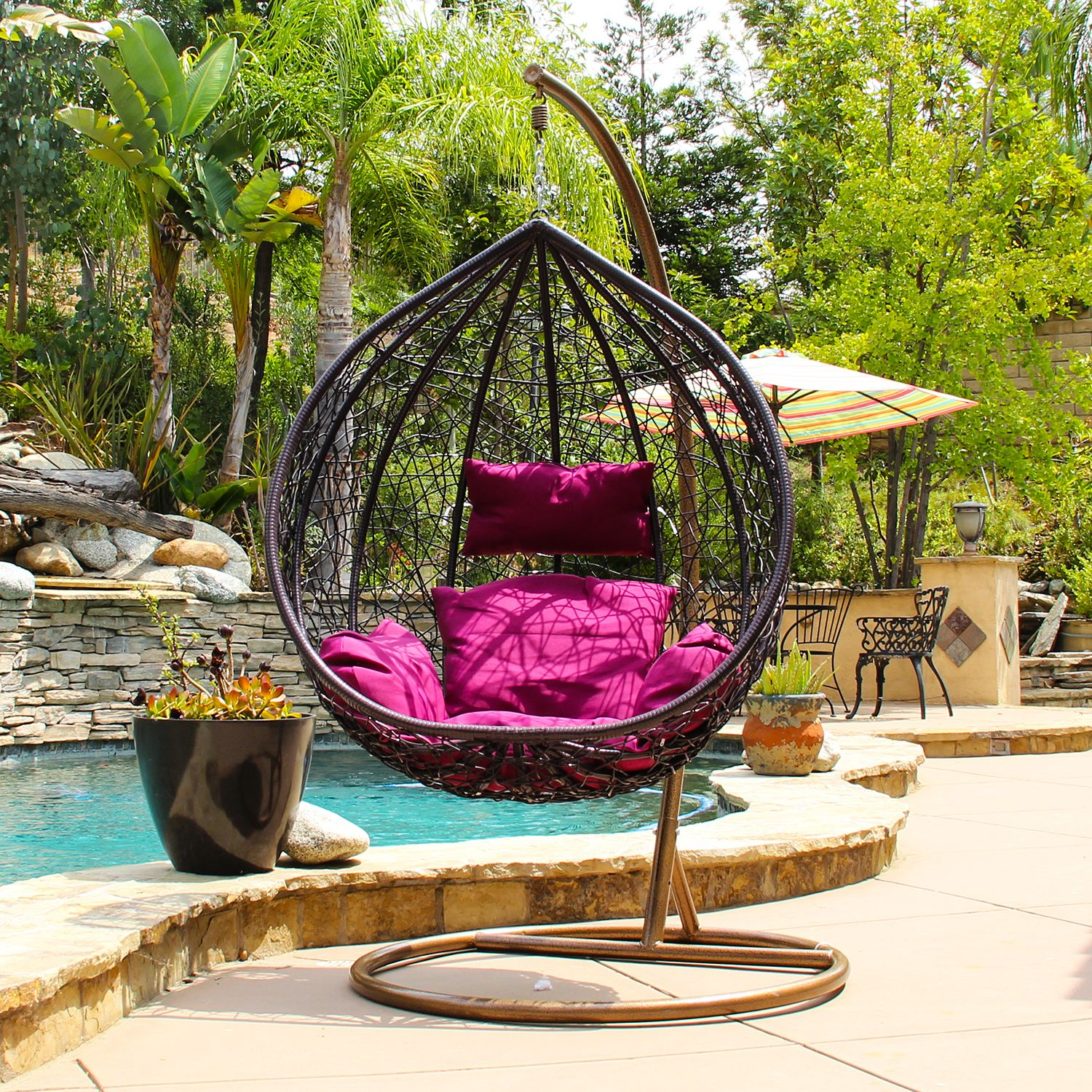 Patio & Garden | Porch Swing With Stand, Swinging Chair Regarding Outdoor Wicker Plastic Tear Porch Swings With Stand (View 2 of 25)