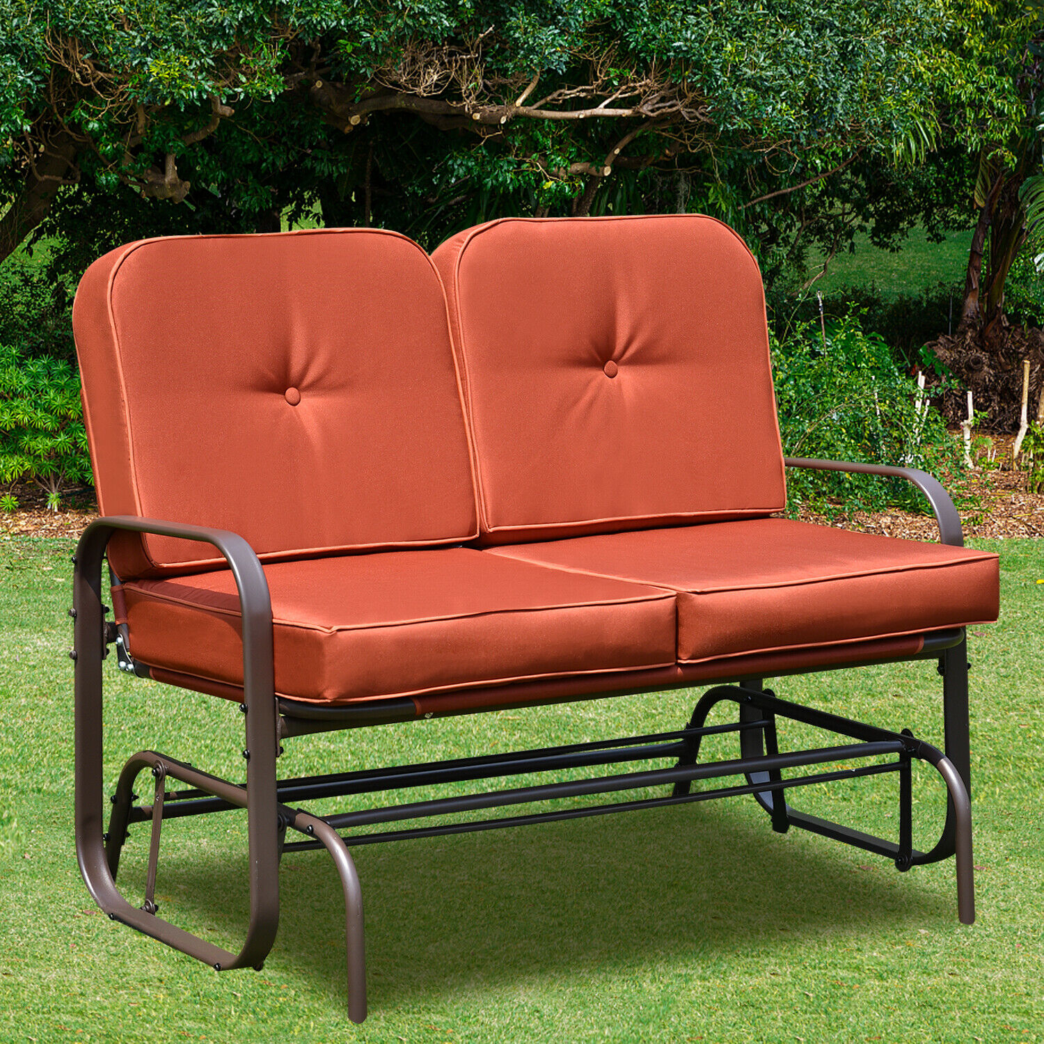 Patio Glider Bench Chair 2 Person Rocker Loveseat Outdoor Furniture W/  Cushions Within Double Glider Benches With Cushion (Image 19 of 25)