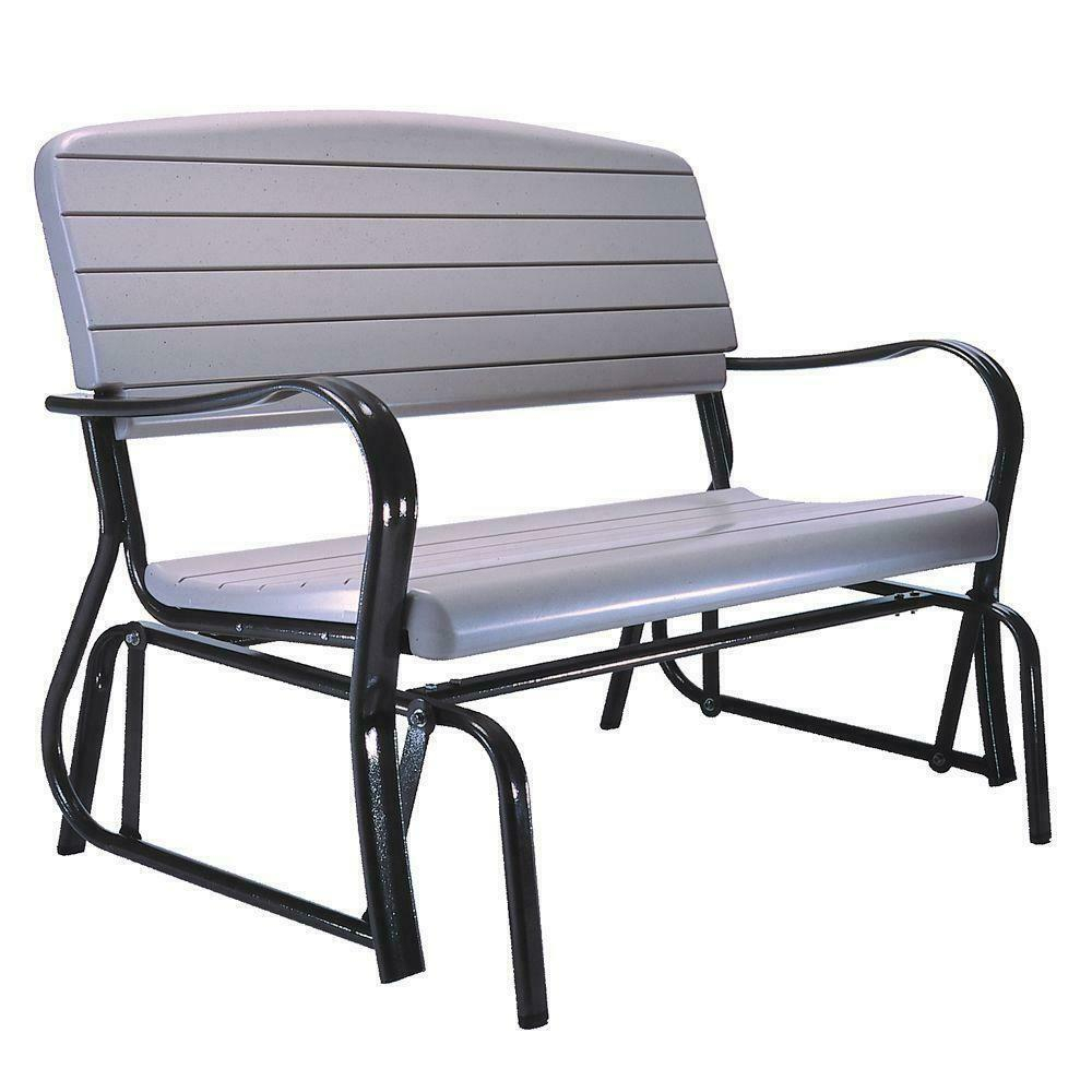 Patio Glider Bench Steel Frame Powder Coated Seat Heavy Duty Sturdy Plastic Inside Outdoor Swing Glider Chairs With Powder Coated Steel Frame (View 5 of 25)