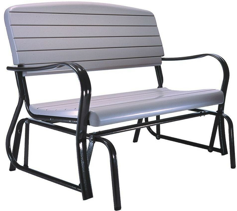 Patio Glider Bench Steel Frame Weather Resistant Surface Mounted Black  Finish With Black Outdoor Durable Steel Frame Patio Swing Glider Bench Chairs (Image 19 of 25)