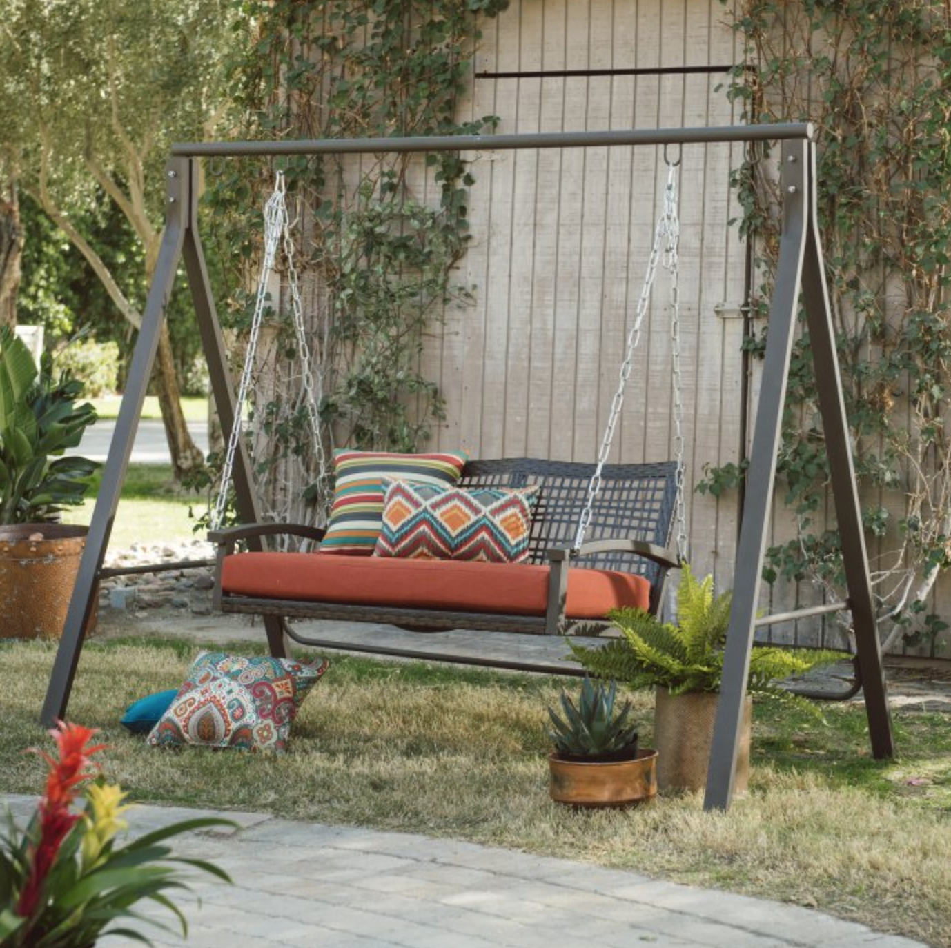 """Patio Metal Swing Stand A Frame Steel For 4"""" 5"""" Swings Lawn With Pergola Porch Swings With Stand (View 14 of 26)"""