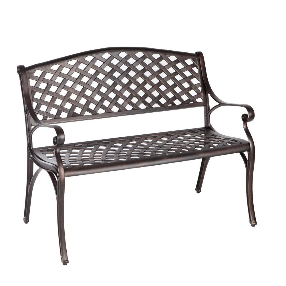 Patio Sense Antique Bronze Cast Aluminum Patio Bench With 1 Person Antique Black Steel Outdoor Gliders (View 13 of 25)
