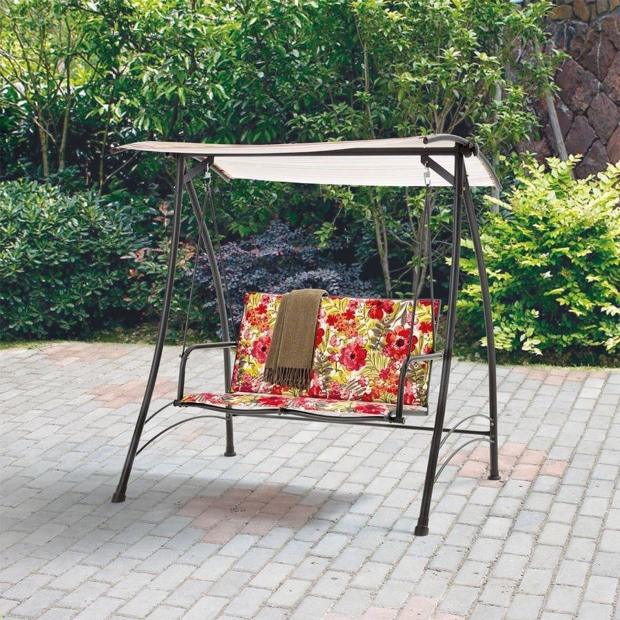 Patio Swing Floral Padded 2 Person Canopy Shade Steel Within 2 Person Hammock Porch Swing Patio Outdoor Hanging Loveseat Canopy Glider Swings (View 18 of 25)