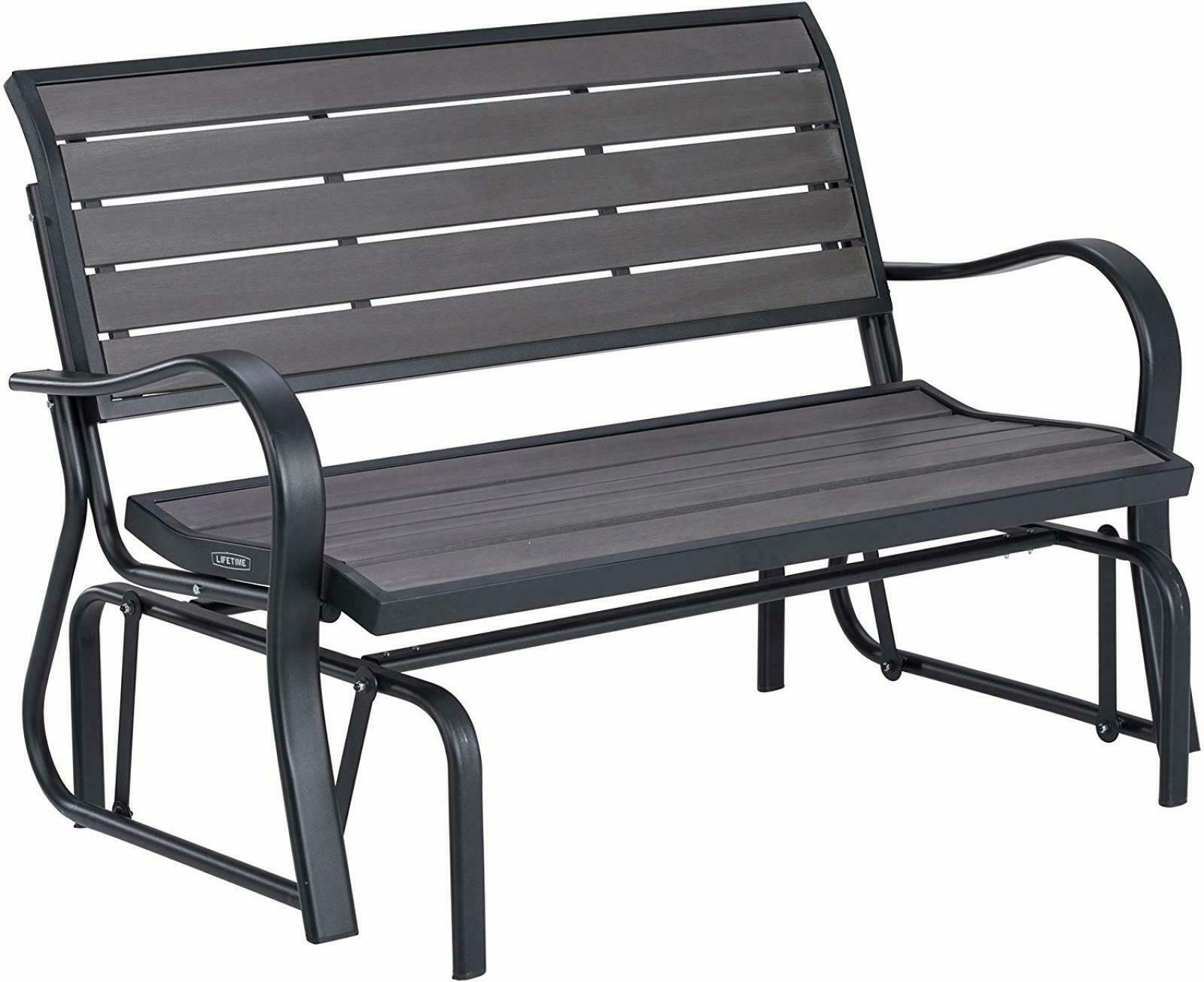 Patio Swing Loveseat Chair 2 People Seats Outdoor Glider Steel Frame Grey Bench Within Outdoor Steel Patio Swing Glider Benches (View 6 of 25)