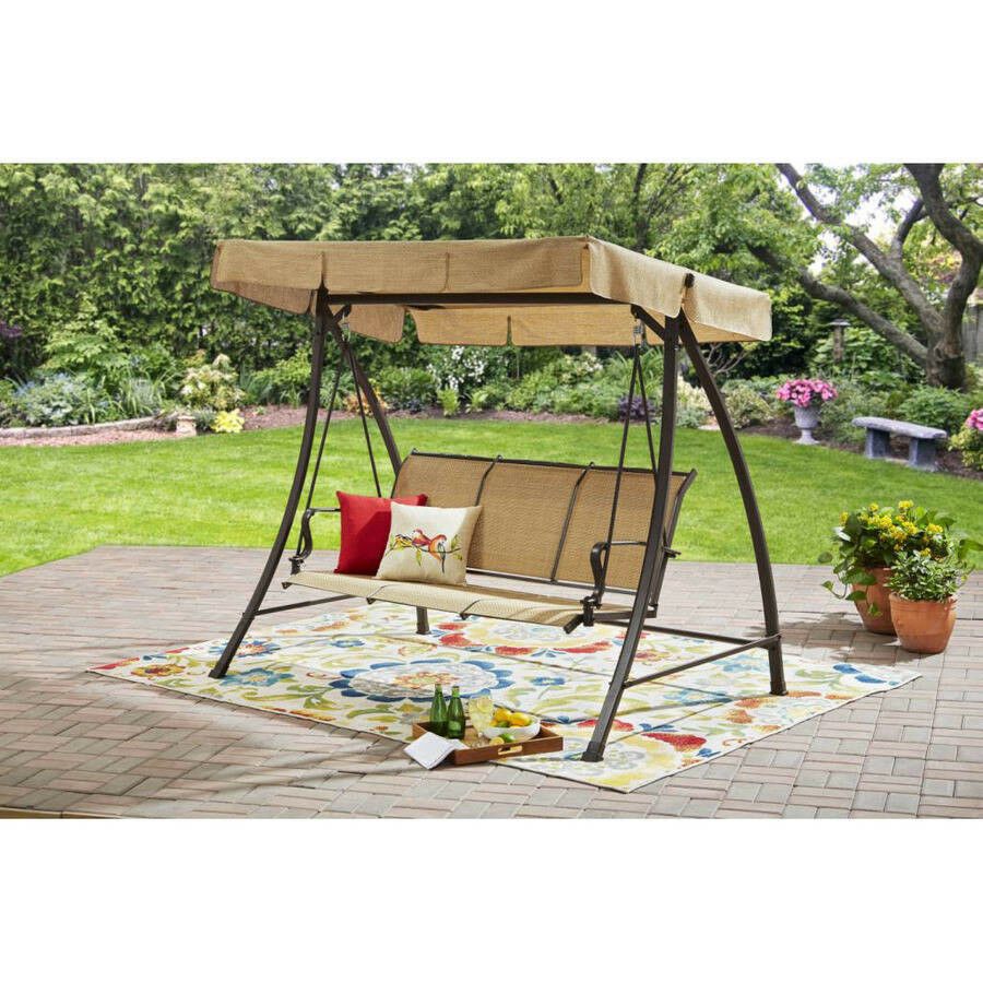 Patio Swing With Canopy 3 Person Garden Backyard Porch Furniture Beige  Fabric In Patio Gazebo Porch Canopy Swings (View 24 of 25)