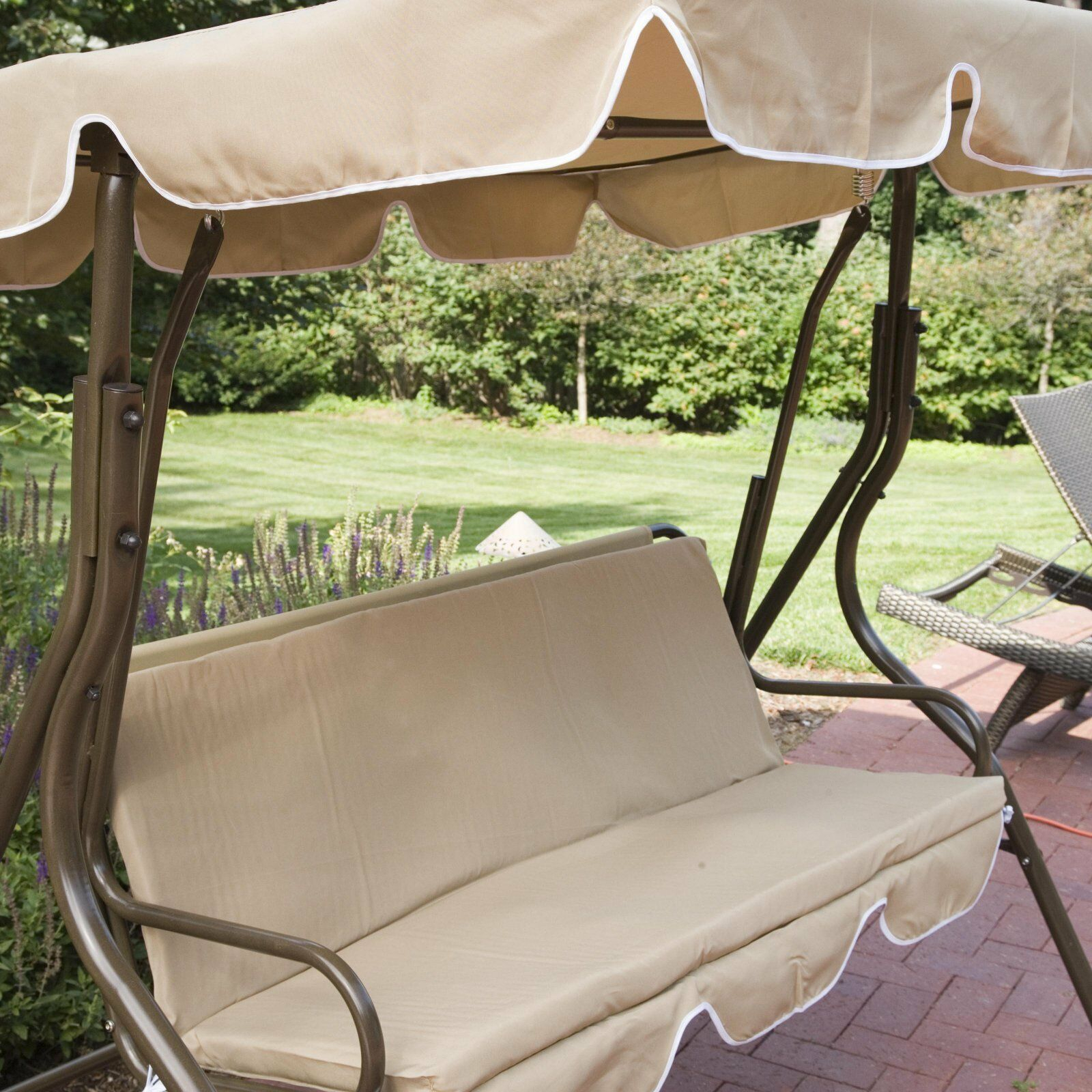Patio Swing With Canopy Outdoor Adjustable 2 Person Tilt Porch Swings Metal Within 2 Person Adjustable Tilt Canopy Patio Loveseat Porch Swings (Image 21 of 25)