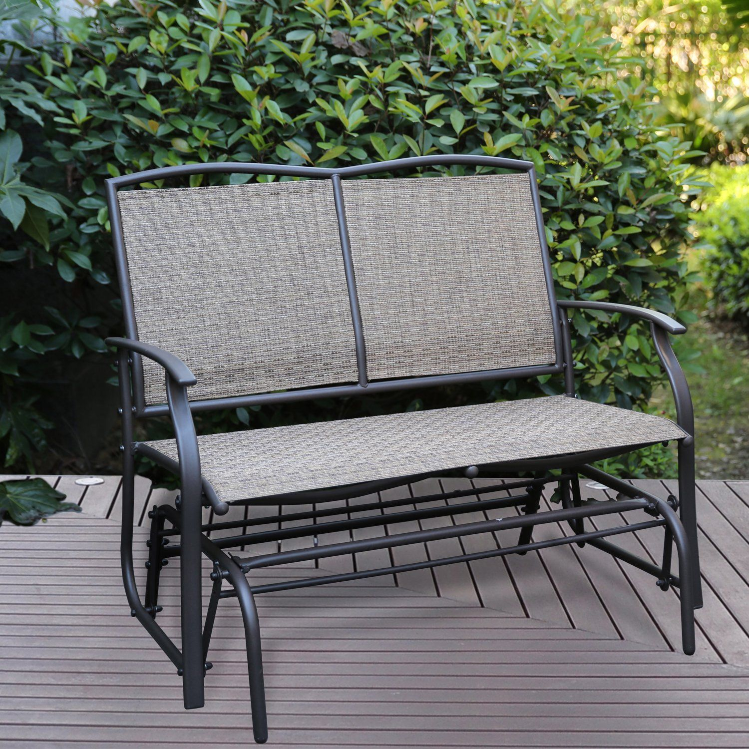 Patio Tree Patio Swing Glider Bench For 2 Person All Throughout Outdoor Steel Patio Swing Glider Benches (View 7 of 25)