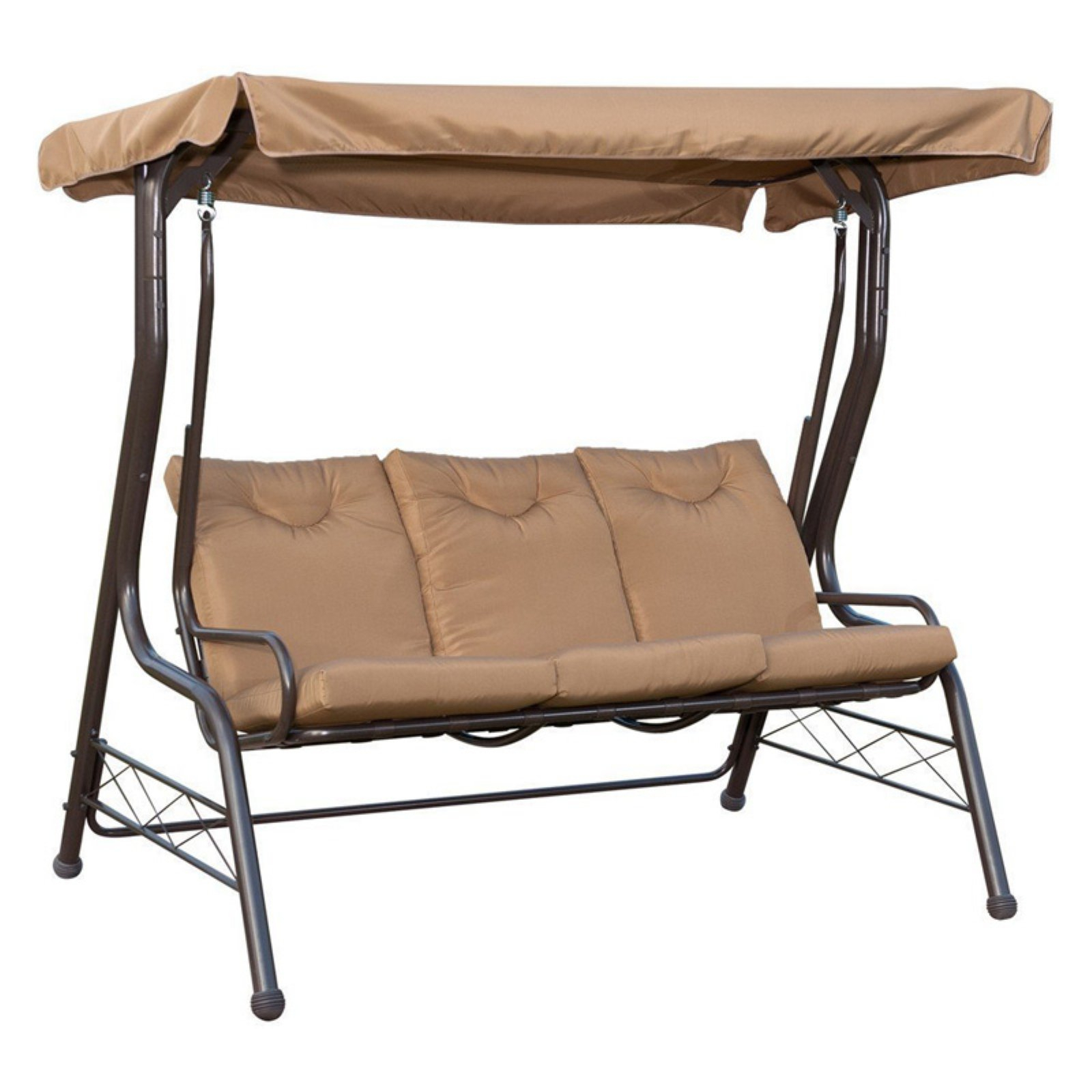 Patiopost 3 Seat Padded Porch Swing With Frame And Canopy In 3 Seats Patio Canopy Swing Gliders Hammock Cushioned Steel Frame (Image 23 of 25)